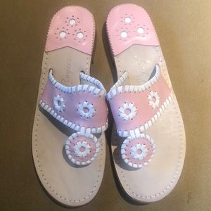 Jack Rodgers Pink & White Summer Sandals LIKE NEW